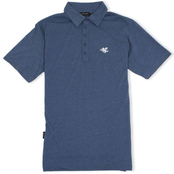 Anglo-Saxon White Dragon 5 Button Jersey Polo Shirt - Navy Marl